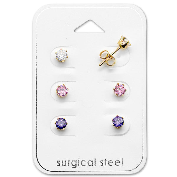 Children's Earrings:  Surgical Steel IP Gold, Pink, White and Purple CZ Studs x 3 Gift Pack