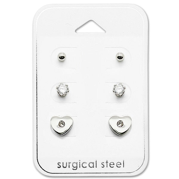 Children's Earrings:  Surgical Steel Gift Pack of 3, Ball Studs, CZ Studs and CZ Hearts