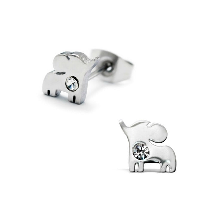 Children's Earrings:  Surgical Steel Baby Elephants with Crystal