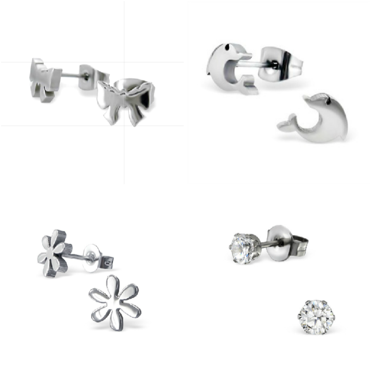 Children's Earrings:  Surgical Stainless Steel Flower, Clear CZ, Bows and Dolphins Set 1