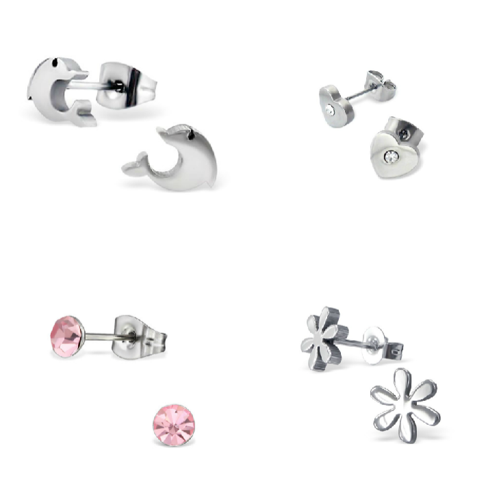 Children's Earrings:  Surgical Stainless Steel Heart with CZ, Pink CZ Stud, Flower and Dolphins Set 2
