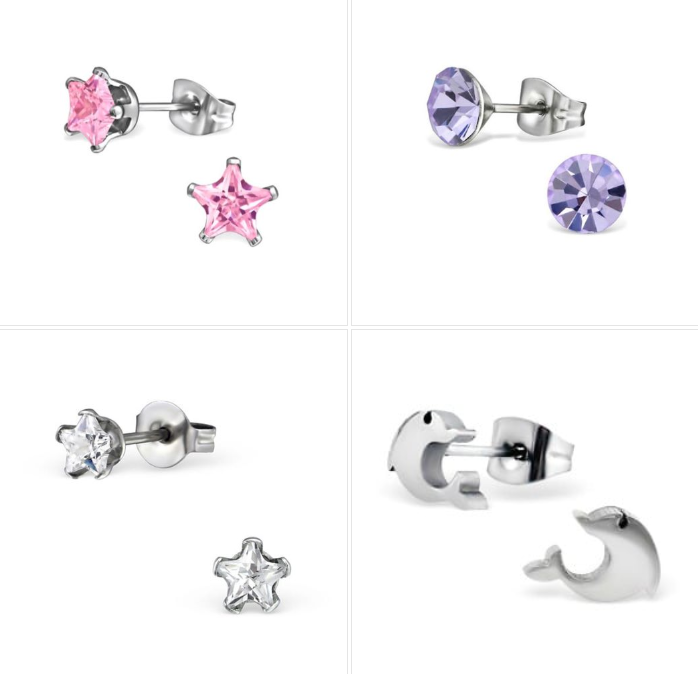 Children's Earrings:  Surgical Steel Pink CZ Stars, Lavender CZ Studs, Dolphins and Clear CZ Stars - Set 5