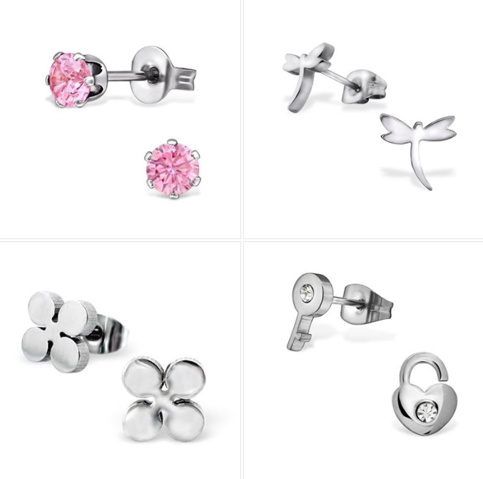 Children's Earrings:  Surgical Steel Pink Studs, Dragonfles, Flower and Padlock and Key with CZ - Set 7