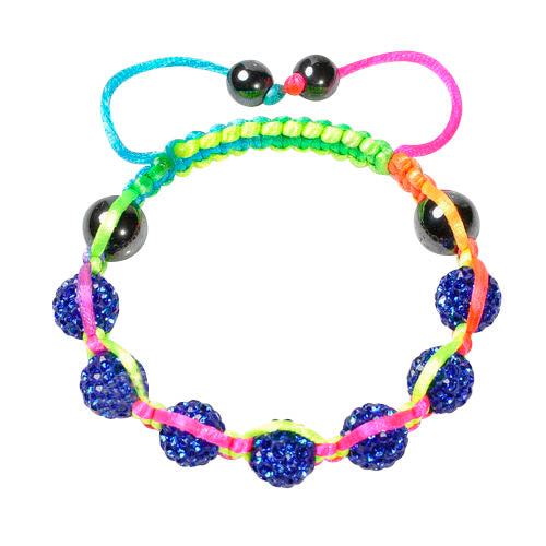 Baby and Children's Bracelets:  Disco Ball Friendship Bracelets in Neon Colours (Blue disco ball beads)