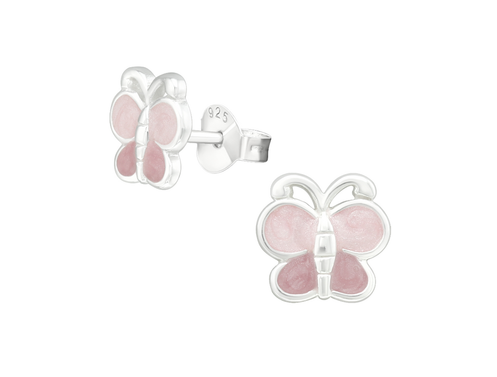 Children's Earrings:  Sterling Silver Two Tone Pink Shimmer Premium Enamelled Butterflies