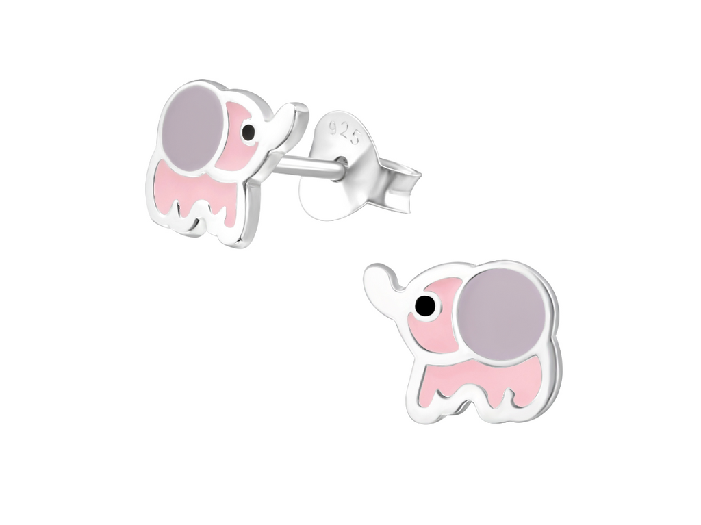 Children's Earrings:  Sterling Silver Pink and Grey Shimmer Premium Enamelled Elephants