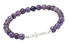 Teens' and Children's Bracelets:  Sterling Silver, Genuine Amethyst with Pave Set CZ  Sideways Cross