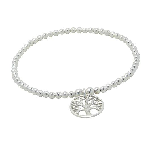 Children's and Teens' Bracelets:  Sterling Silver Ball Bracelets with Tree of Life