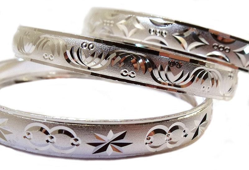 Children's Bracelets:  Silver Electroplated Engraved Bangle Bracelet Size 4