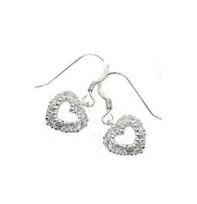 Teens' and Children's Earrings:  Sterling Silver CZ Encrusted Heart Earrings on Hooks