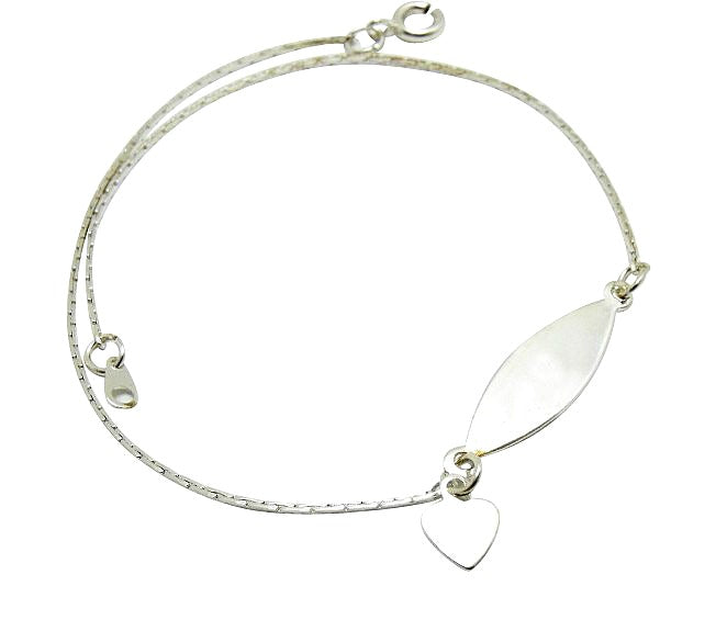 Children's Anklets:  Silver Plated Anklets, ID Style with Heart Charm