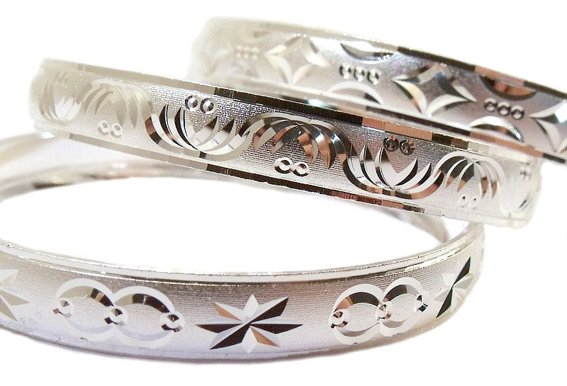 Baby Bracelets:  Silver Electroplated Bangle Bracelets, Engraved Size 1