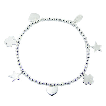 Children's and Teens' Bracelets:  Sterling Silver Ball Bracelet with Charms