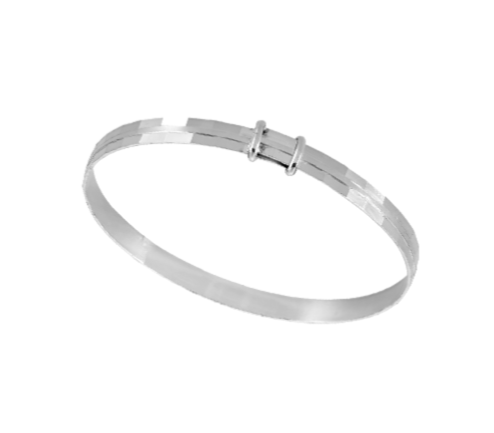 Children's Bangles:  Sterling Silver, Expanding, Diamond Cut Faceted Bangles Age 18 months to 5