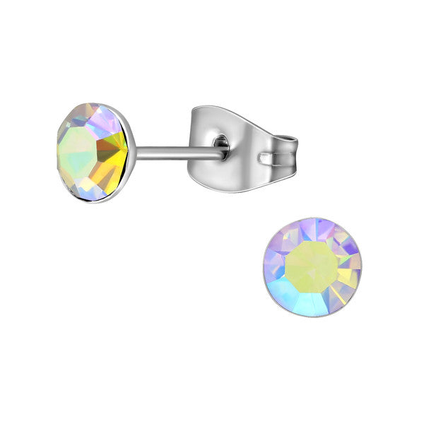 Children's Earrings:  Surgical Steel AB Crystal Studs 5mm