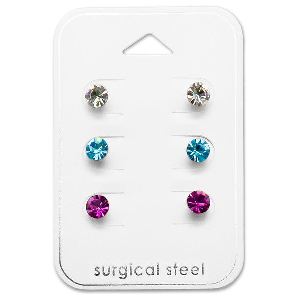 Children's Earrings:  Surgical Steel Pink, White and Blue CZ Studs x 3 Gift Pack 5mm