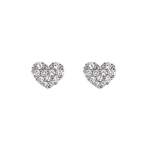 Children's Earrings:  Sterling Silver, Sparkling CZ Hearts with Safety Screw Backs