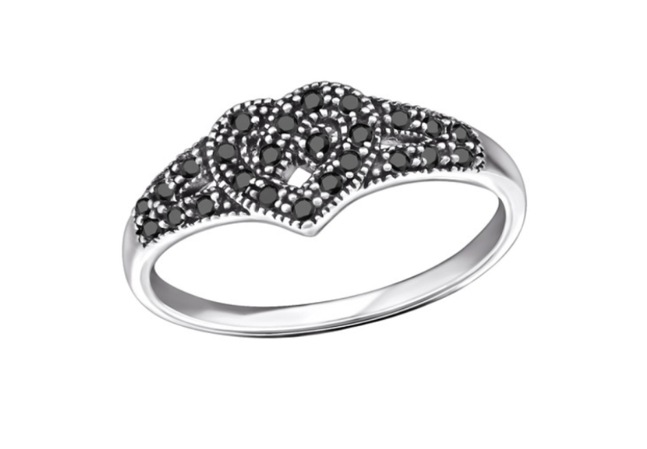 Children's Rings:  Sterling Silver Celtic Heart Ring with Black Spinel Sizes 7