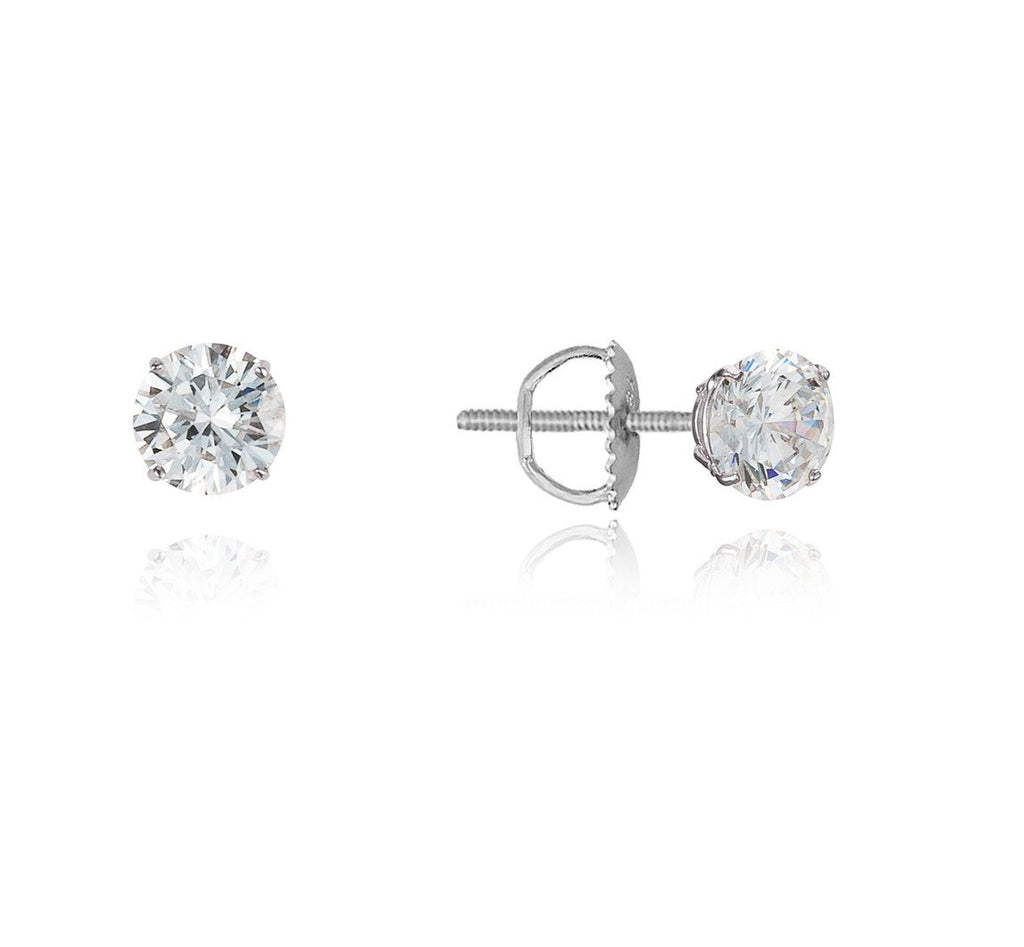 Baby and Children's Earrings:  Sterling Silver Diamond CZ Easy Grip Screw Back Earrings - April birthstone