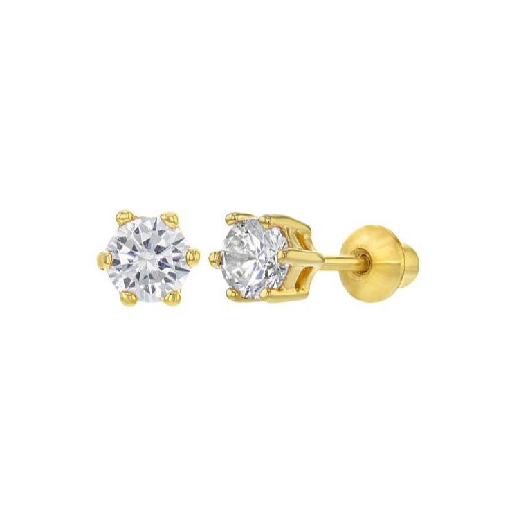 Children's Earrings:  18k Gold over Sterling Silver, Clear CZ Stud Earrings with Screw Backs