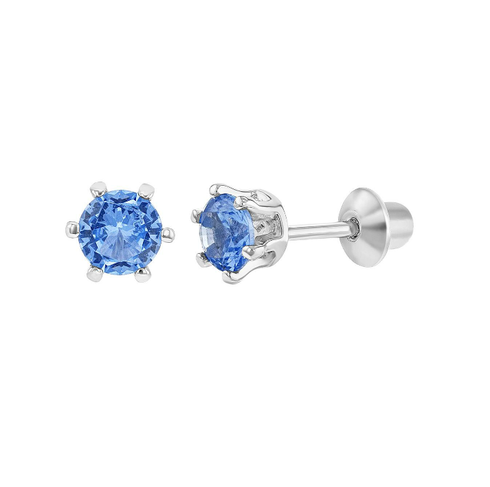 Children's Earrings:  Sterling Silver Blue CZ Prong Set Screw Back Earrings 4mm