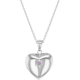 Children's Necklaces:  Sterling Silver, Pink CZ Star Heart Locket Necklaces 16""