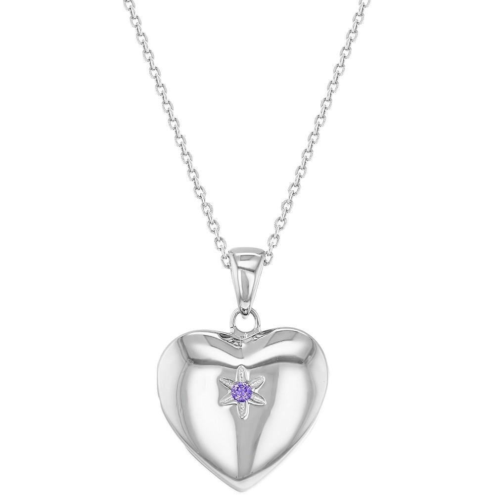 Children's Necklaces:  Sterling Silver, Lavender CZ Star Heart Locket Necklaces 16""