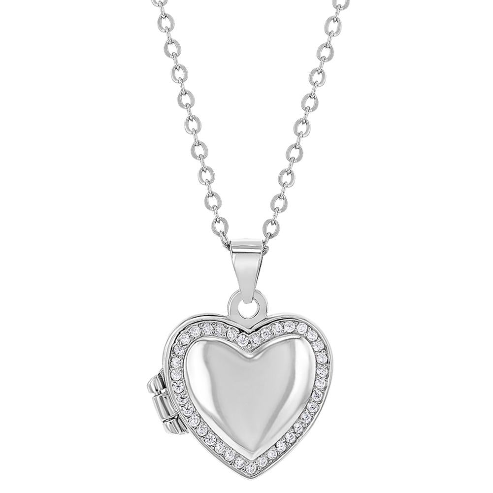 Children's Necklaces:  Sterling Silver, Clear CZ Heart Locket Necklaces 16""