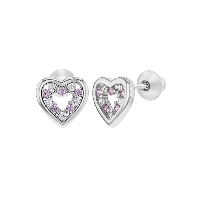 Baby and Children's Earrings:  Sterling Silver Pink/White CZ Open Hearts with Screw Backs