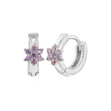 Baby Huggies:  Sterling Silver Huggies with Pink CZ Flower