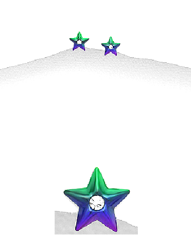Children's Earrings:  Sterling Silver Stars with Central CZ in Green/Purple