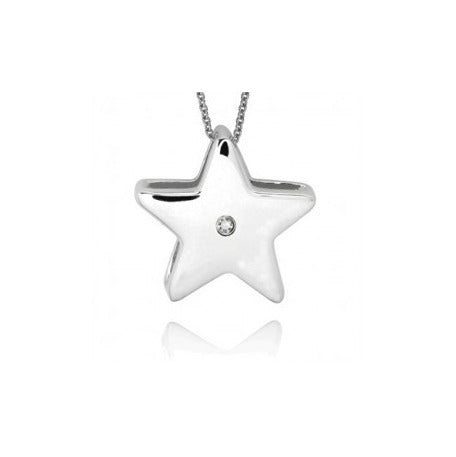 Baby and Children's Necklaces:  Sterling Silver CZ Polished Star Necklaces