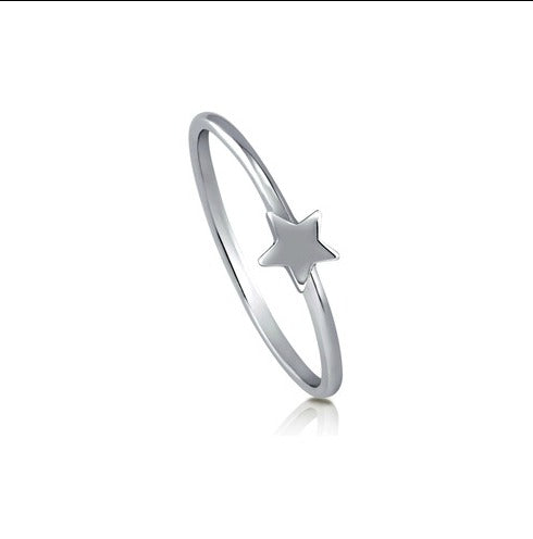 Teens' and Children's Rings:  Sterling Silver Star Rings US Size 5