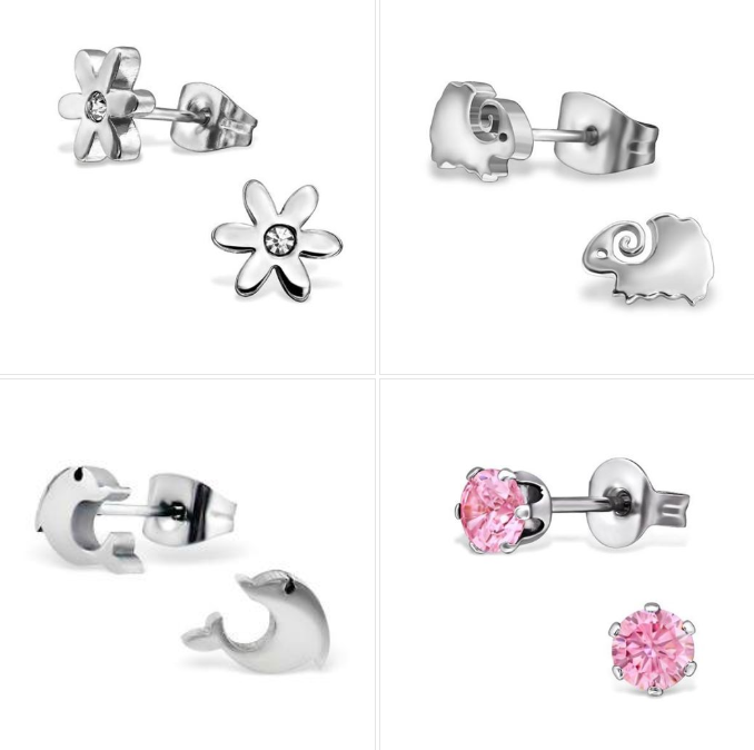 Children's Earrings - Surgical Steel Flowers, Pink CZ Studs, Woolly Sheep & Dolphins - Set 4