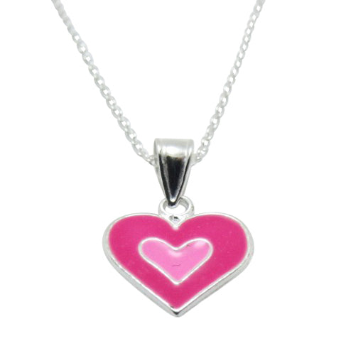 Baby and Children's Necklaces:  Sterling Silver, Small, Pink Enamel Heart Necklaces