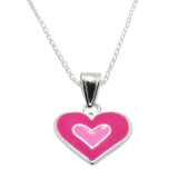 Children's Necklaces:  Sterling Silver, Pink Enamel Heart Necklaces