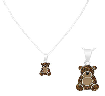 "Children's Necklaces:  Sterling Silver Brown Teddy Necklaces 14.5"" Extending to 15.5"""