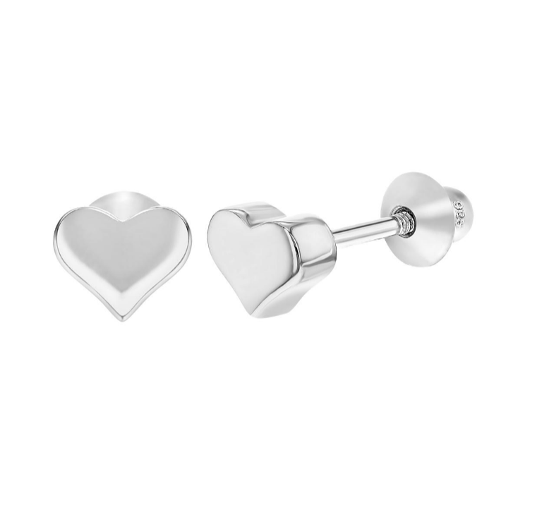Baby and Toddler Earrings:  Sterling Silver, Tiny Heart Screw Back Earrings