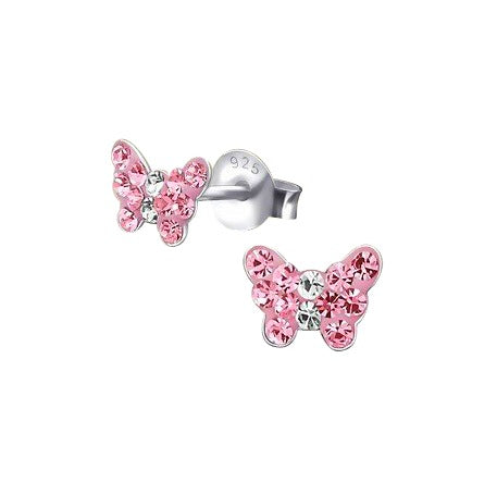 Baby and Children's Earrings:  Tiny Sterling Silver, Pink CZ Butterflies