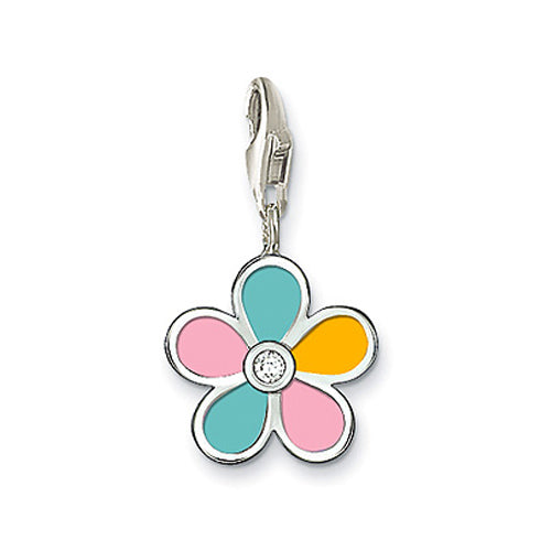 Mothers', Children's and Baby Charms:  Sterling Silver Enamelled Flower Charm