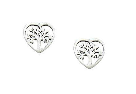 Children's and Teens' Earrings:  Sterling Silver Tree of Life Hearts