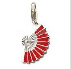 Mothers' and Children's Charms:  Silver Plated, Red Enameled Fan Charms