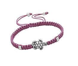 Baby and Children's Bracelets:  Deep Pink, Adjustable Friendship Bracelet with Turtle
