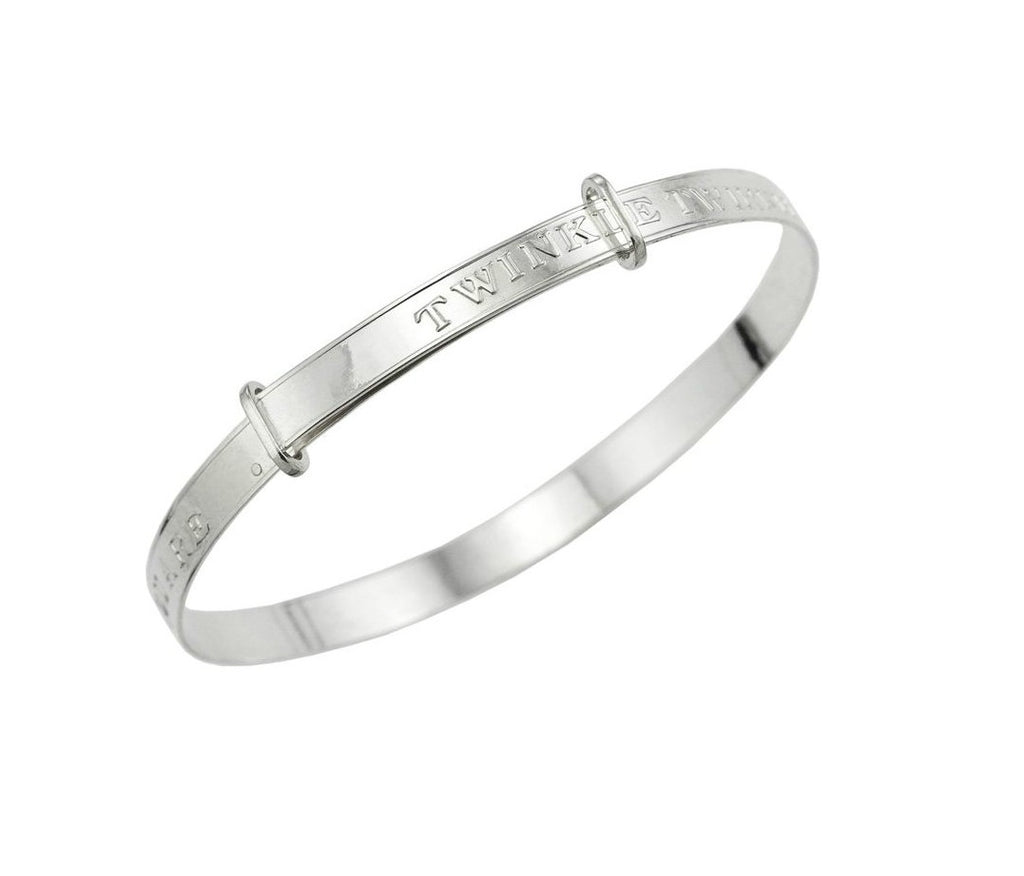 Baby Bangles:  Sterling Silver Twinkle Twinkle Little Star Expanding Bangle Newborn Size with Gift Box