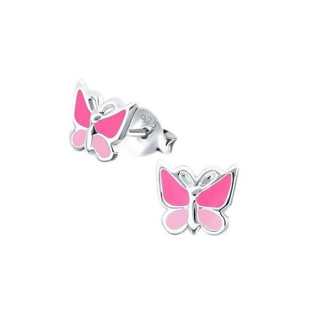 Baby and Children's Earrings:  Sterling Silver, Two Tone Pink Butterfly Earrings