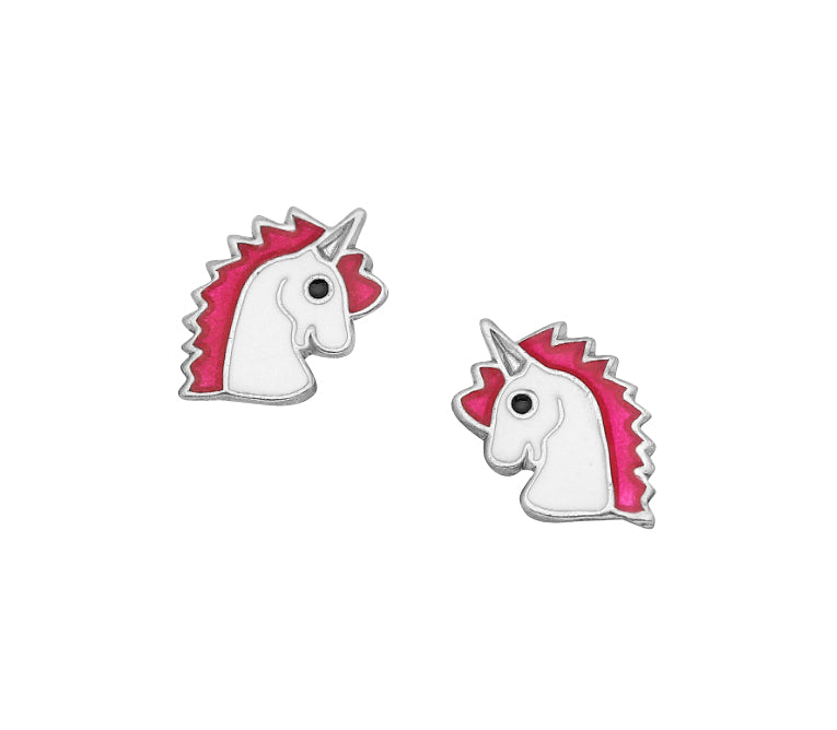 Children's Earrings:  Sterling Silver White and Pink Unicorn Earrings