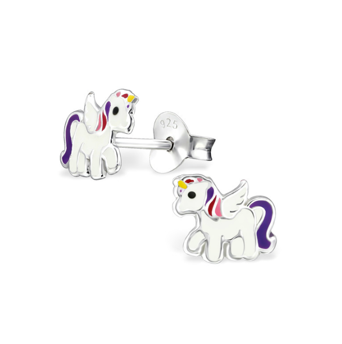 Children's Earrings - Sterling Silver White/Purple Baby Unicorns