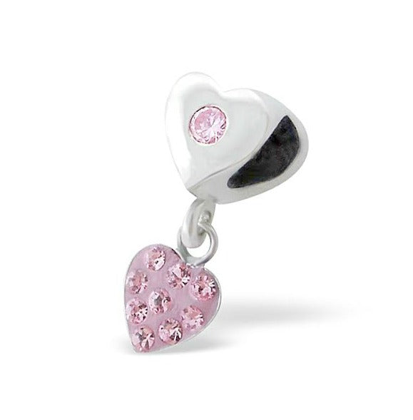 Children's European Beads:  Sterling Silver Heart with Pink CZ and Hanging Crystal Heart