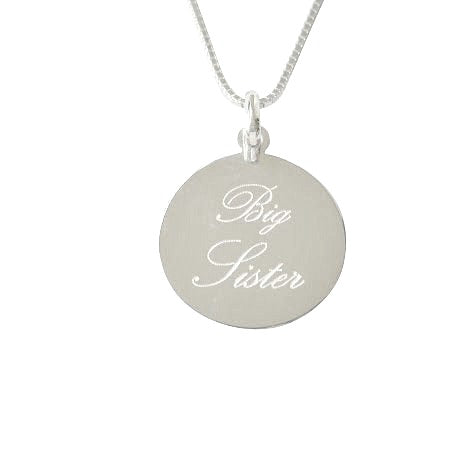 Children's Necklaces:  Sterling Silver Disk Big Sister Necklaces, Stamped in Script