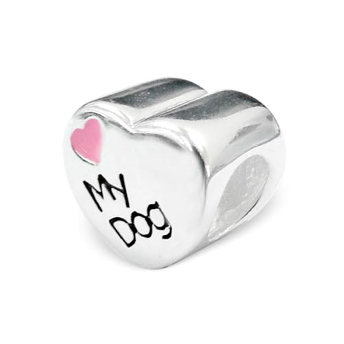 "Children's European Beads:  Sterling Silver ""My Dog"" Heart Bead with Pink Heart"